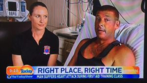 heart attack victim revived by CPR