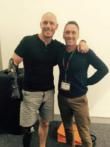 Scott Whimpey of First Aid Accident Emergency with the inspirational Paul de Gelder.