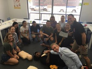 Big Trev from 102.9 Hot Tomato dropped into one of our first aid courses.