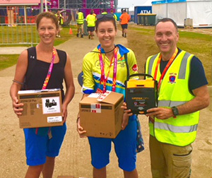 delivering commonwealth games defibrillators