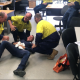 Simulation of a medical emergency in a trade workplace
