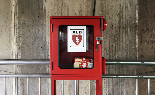 Defibrillator in Locked Cabinet
