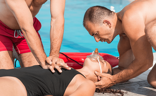 Lifesavers at a pool learning advance resuscitation