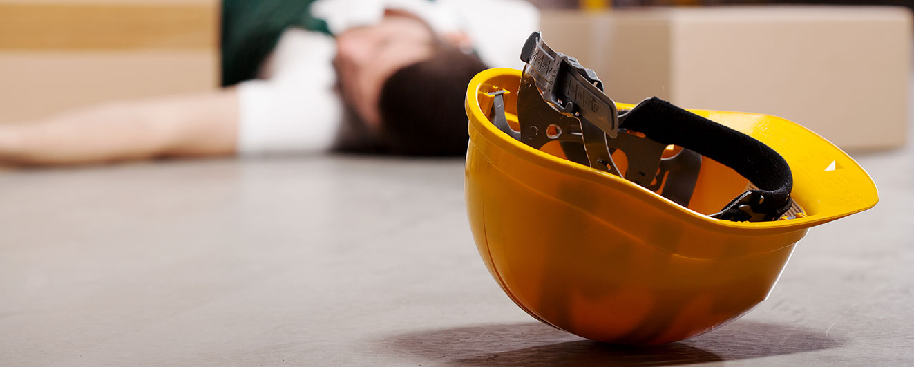 construction worker on floor after suffering cardiac arrest
