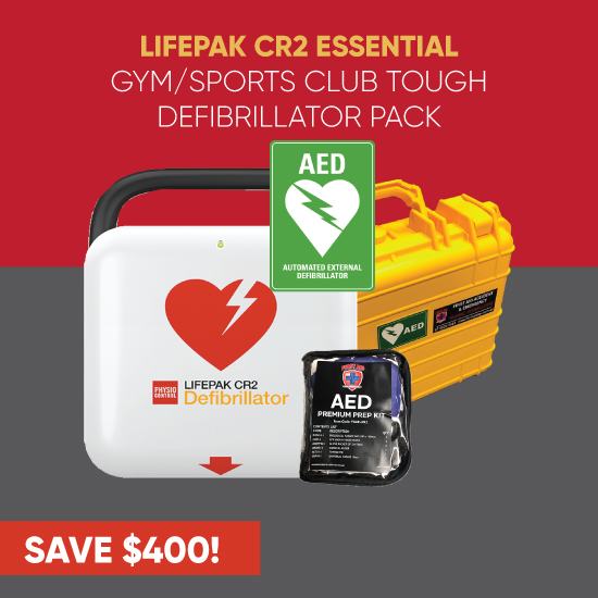 lifepak cr2 essential gym/sports club tough defibrillator pack