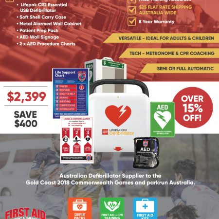 lifepak cr2 essential gym/sports club defibrillator pack